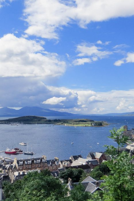 The view from McCaig's Tower in Oban towards the Isles of Kerrera and Mull.