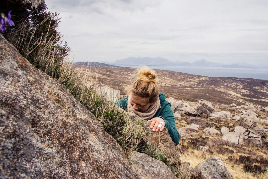 This photo shows my friend bouldering at the foot of Hallival on the Isle of Rum.
