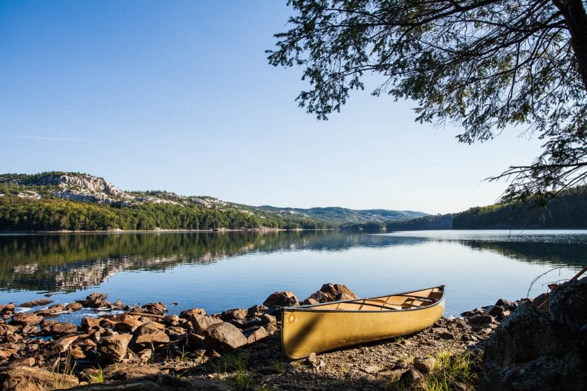 "Our canoes ""parked"" in Killarney Provincial Park"