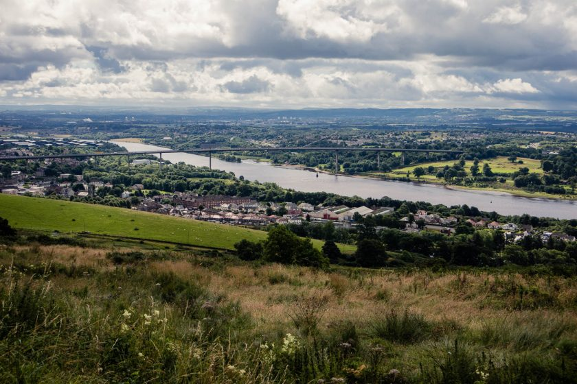 View of the Erskine Bridge near Glasgow from the Slacks viewpoint in the Kilpatrick Hills, Scotland.