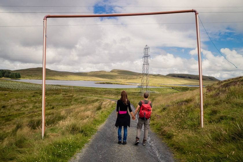A couple hiking in the Kilpatrick Hills near Glasgow