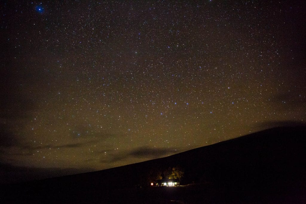 the starry sky over Loch Ossian Youth Hostel