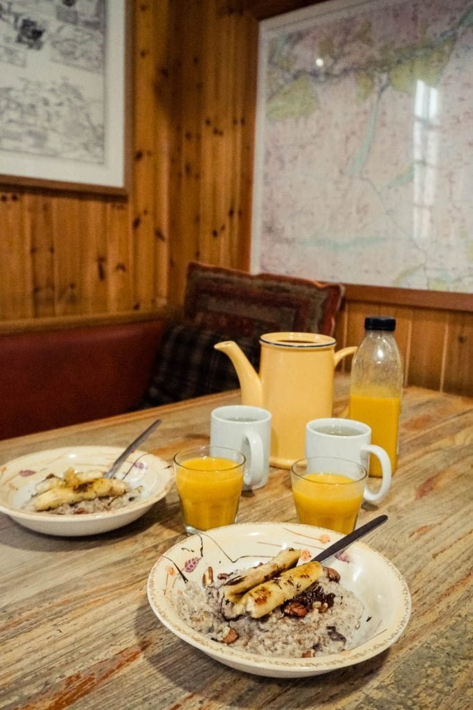 Breakfast at Loch Ossian Youth Hostel