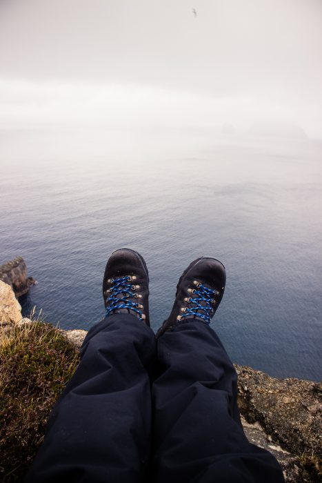 My feet in Zamberlan hiking boots.
