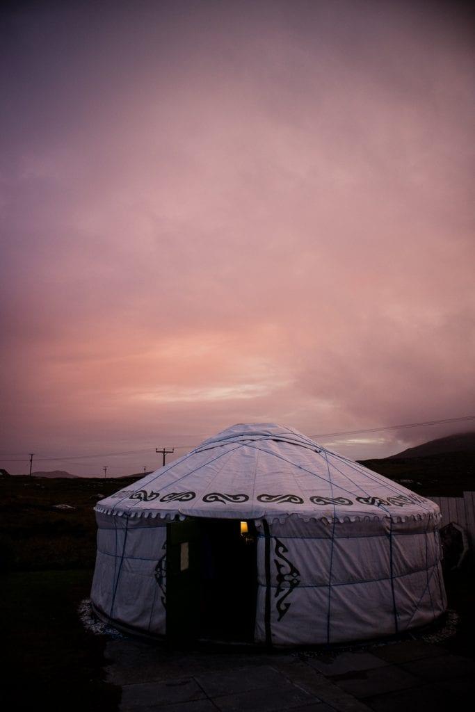 My yurt at Barra Holidays on the Hebridean Way.