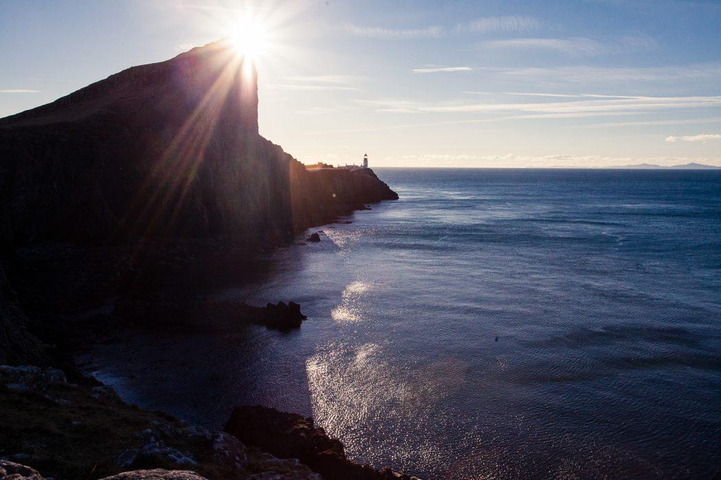 Neist Point Lighthouse on Skye and the sea
