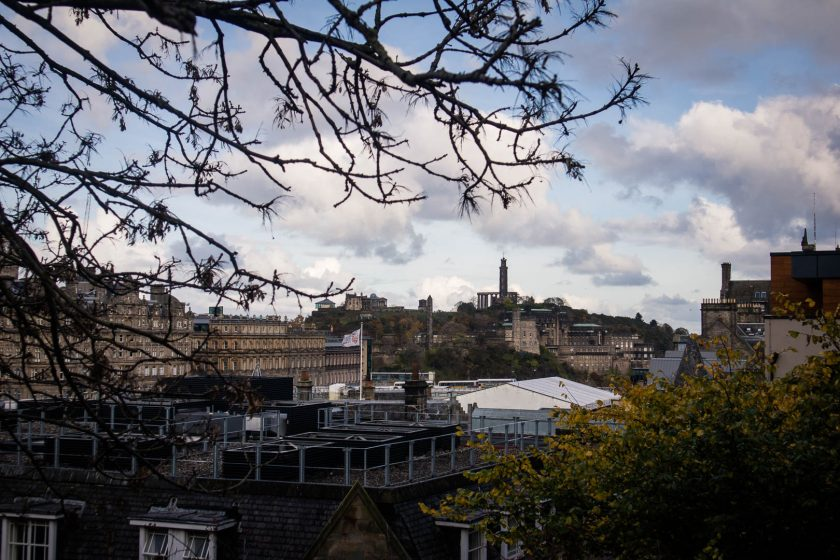 Edinburgh skyline with Nelson Monument and Calton Hill