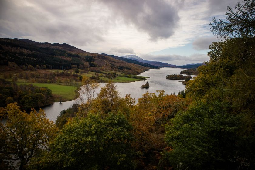 Queen's View in Scotland during autumn