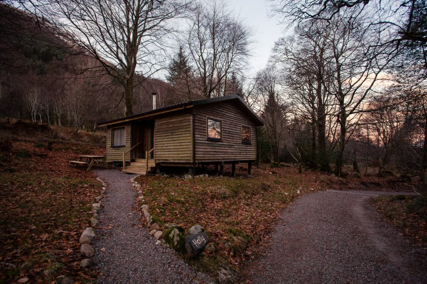 House in the Wood woodland cabin in Scotland