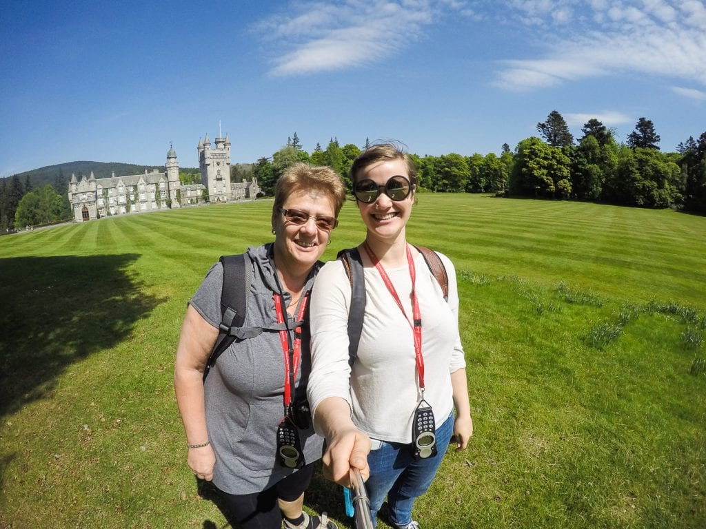 Travel writer Kathi Kamleitner and her mum visiting Balmoral Castle and gardens