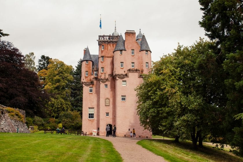 The pink fairytale castle, Craigievar Castle in the Royal Deeside in Aberdeenshire, Scotland