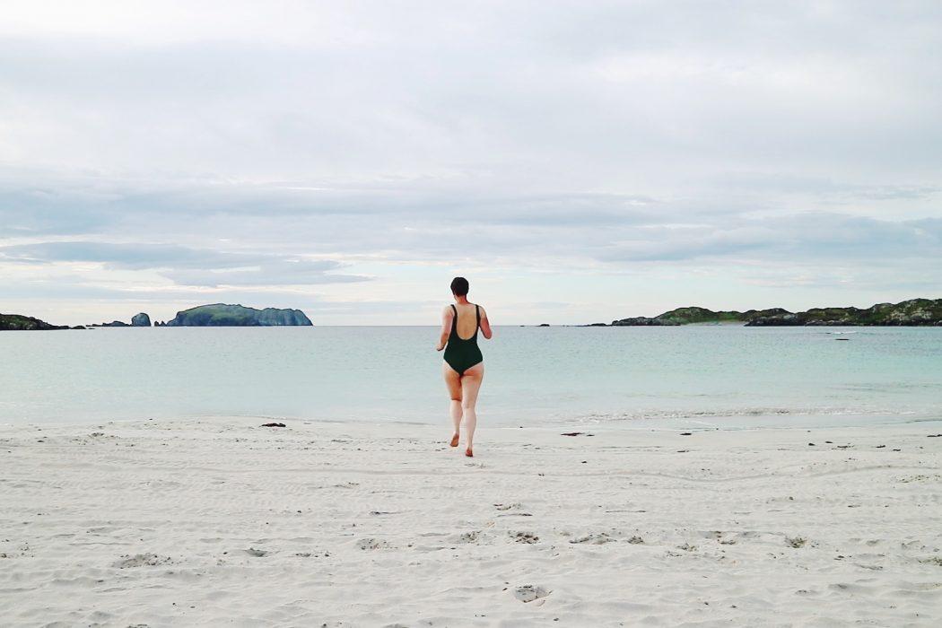 Wild swimming on the Isle of Lewis.