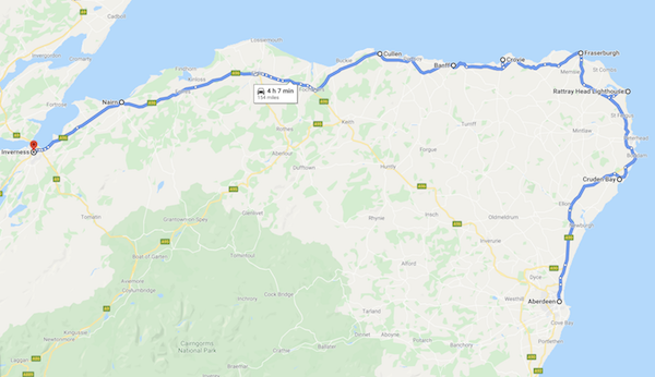 map of a Scotland road trip - aberdeenshire coastal trail