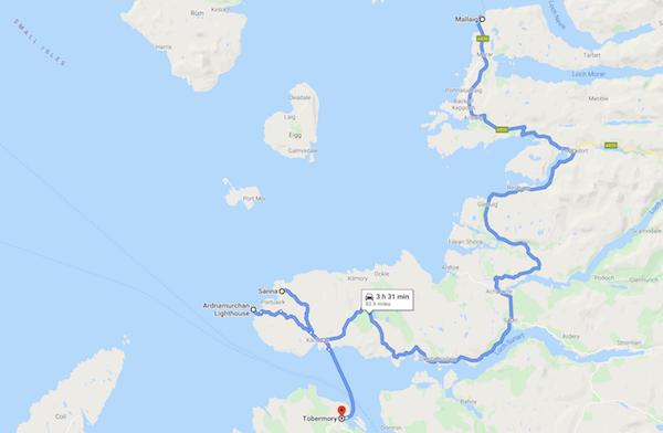 map of a Scotland road trip - ardnamurchan