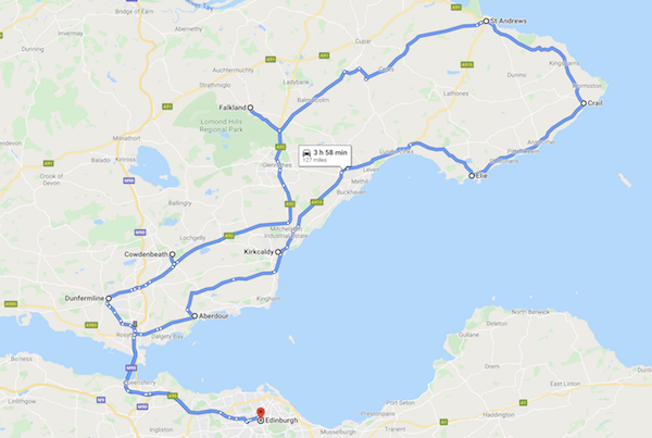 map of a Scotland road trip - fife