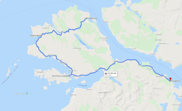 map of a Scotland road trip - isle of mull