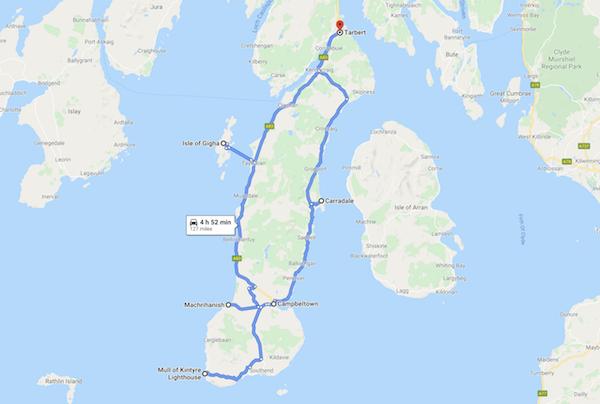 map of a Scotland road trip - kintyre peninsula