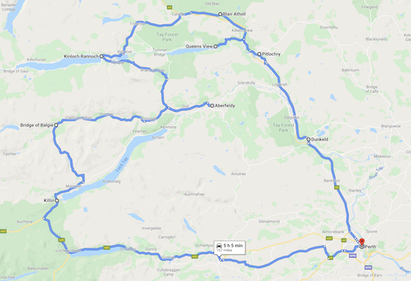map of a Scotland road trip - perthshire