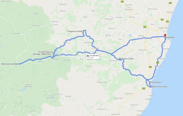 map of a Scotland road trip - scottish castle trail