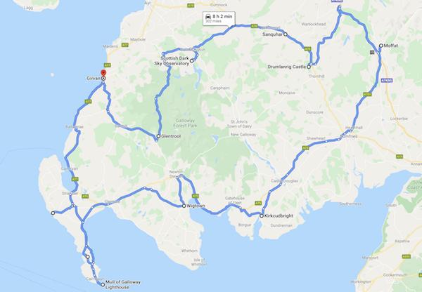 map of a Scotland road trip - south west coastal 300