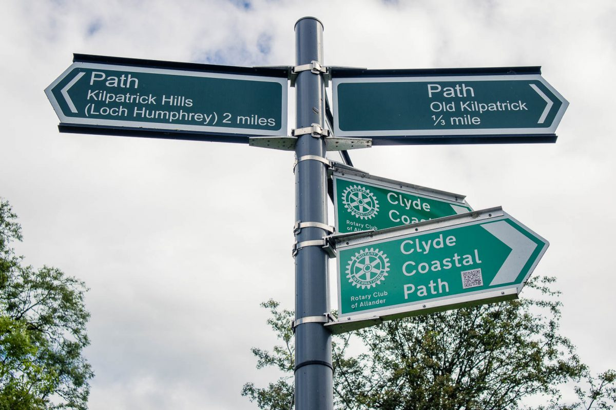 Signpost for the Kilpatrick Hills hike near Glasgow, Scotland