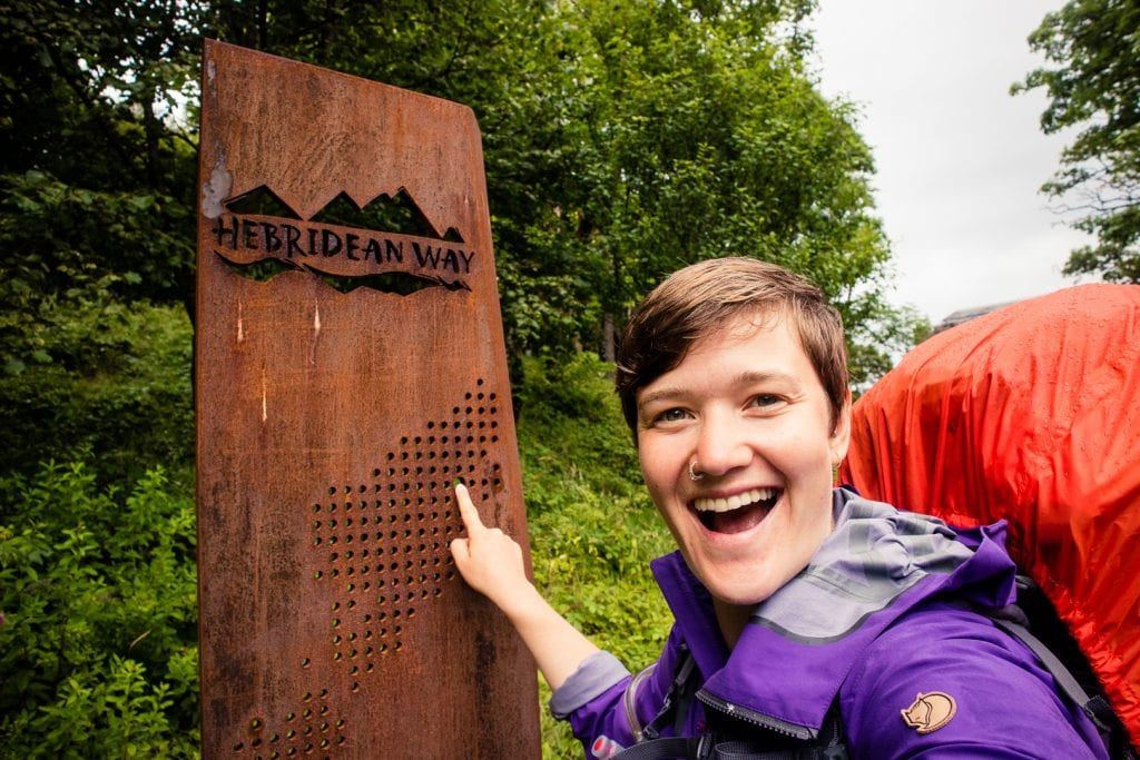 Travel writer Kathi Kamleitner at the end of the Hebridean Way walking route in Stornoway.