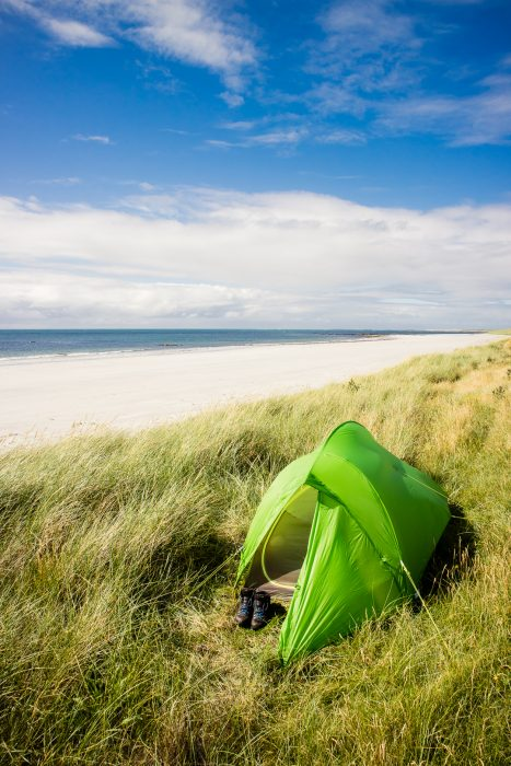 A wild camping spot near Askernish on the Isle of South Uist in Scotland.