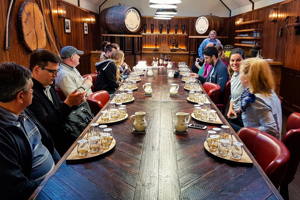 Whisky tasting at Aberlour Distillery in the Speyside whisky region.