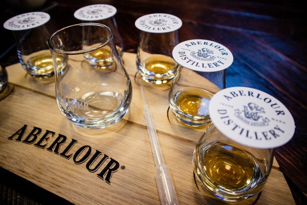 Whisky tasting at Aberlour Distillery in the Speyside region.