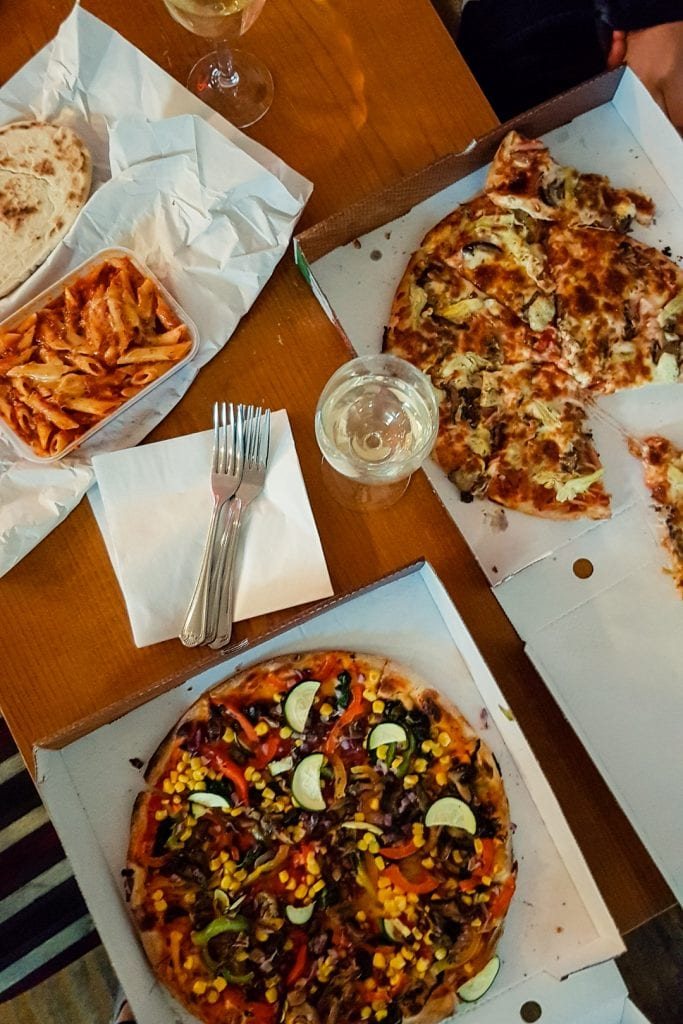 Takeaway pizza and pasta from Milano's in Fochabers.