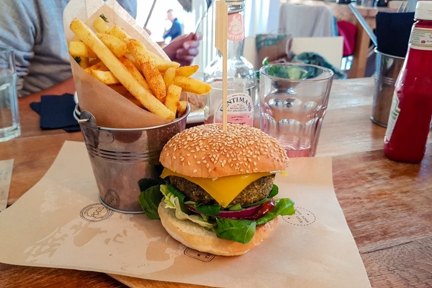Vegan spinach burger at Rockpool Cafe in Cullen.