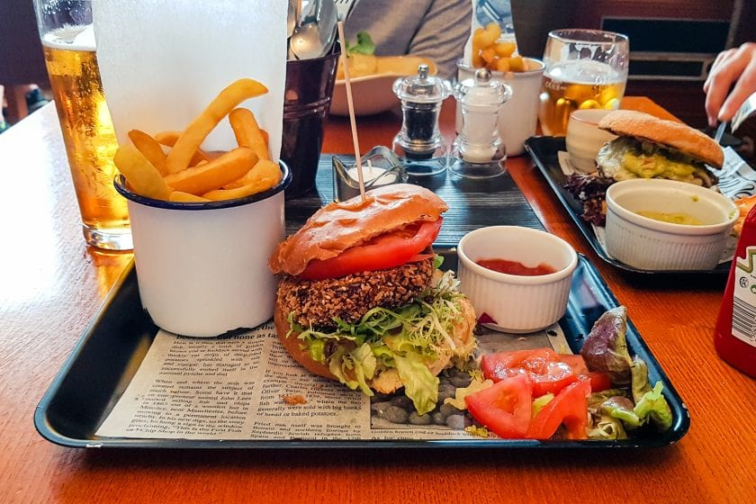 A vegan burger at the Boat Hotel in Boat of Garten.