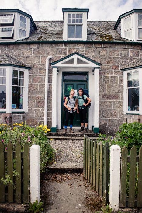 My friends outside of Fraoch Lodge in Boat of Garten along the Speyside Way.