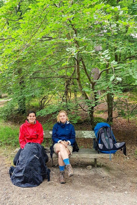 Taking shelter from the rain near Grantown on Spey.