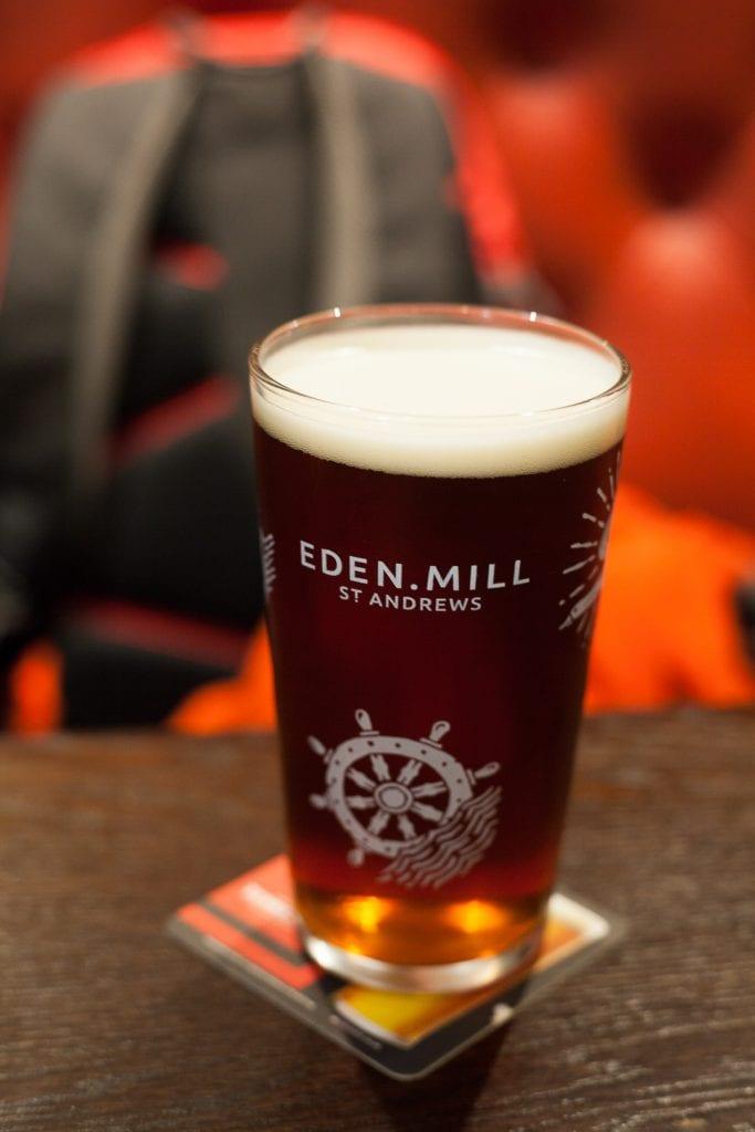 A pint of Eden Mill craft beer in Scotland.