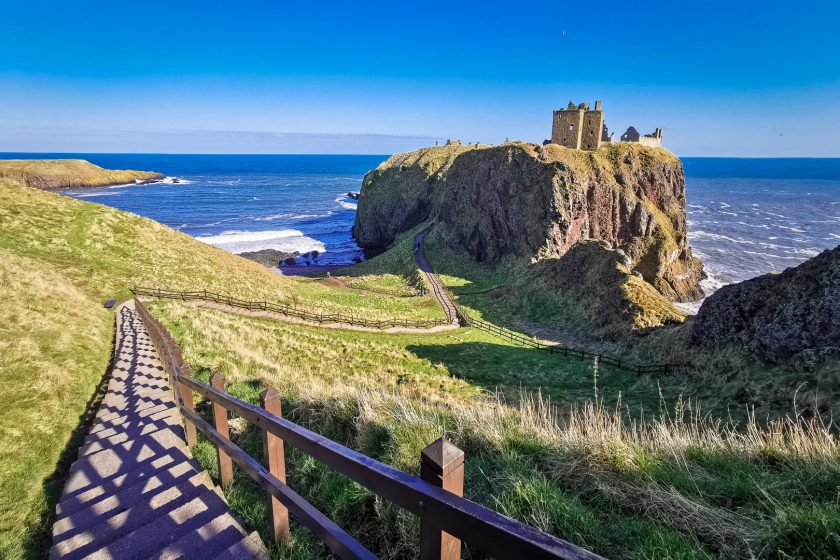 The steep steps to Dunnottar Castle in Scotland