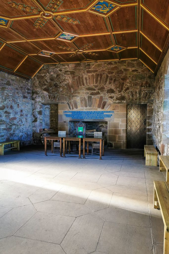 The restored drawing room at Dunnottar Castle in Scotland