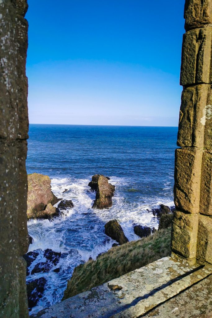 Views of the sea from Dunnottar Castle in Scotland