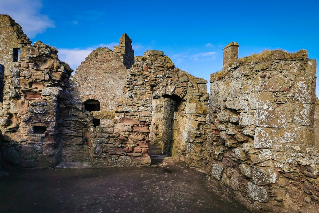 The ruined Palace at Dunnottar Castle in Scotland