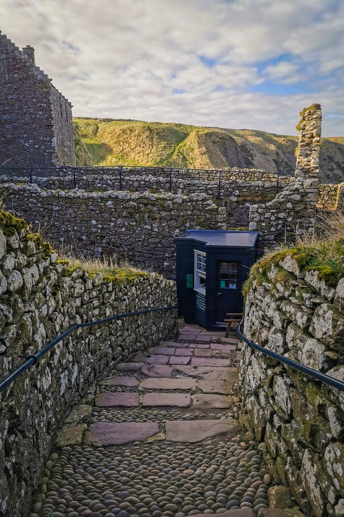 Ticket kiosk at the main gate at Dunnottar Castle in Scotland