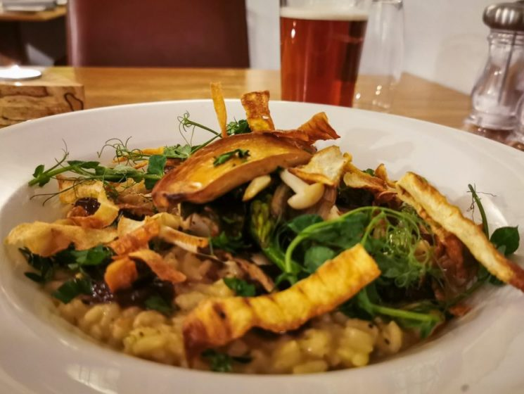 Mushroom risotto at Stack Restaurant near Stonehaven.