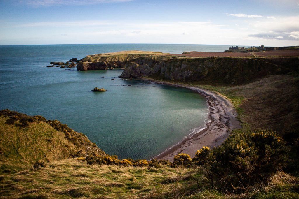 The bay between Stonehaven and Dunnottar Castle in Scotland