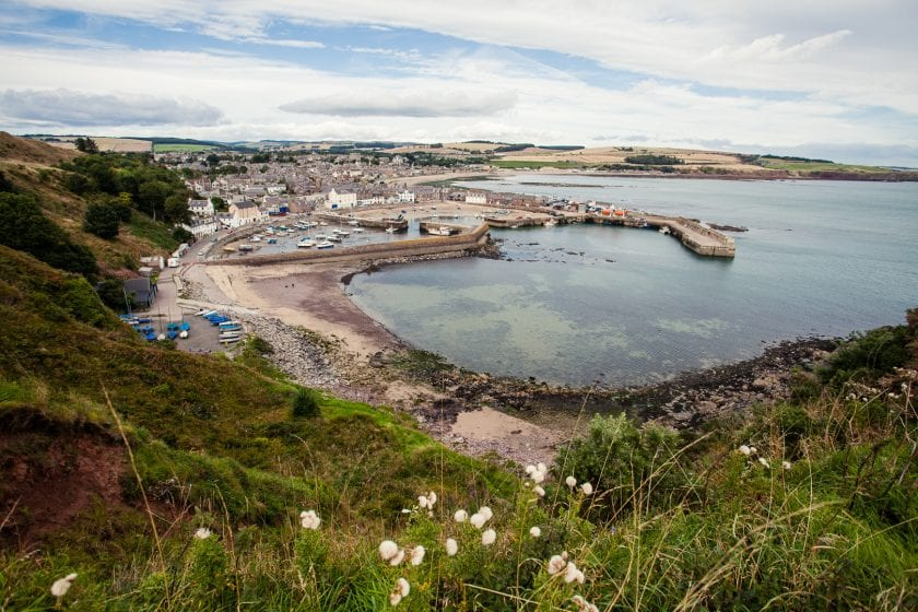 The harbour of Stonehaven from the viewpoint near the War memorial.