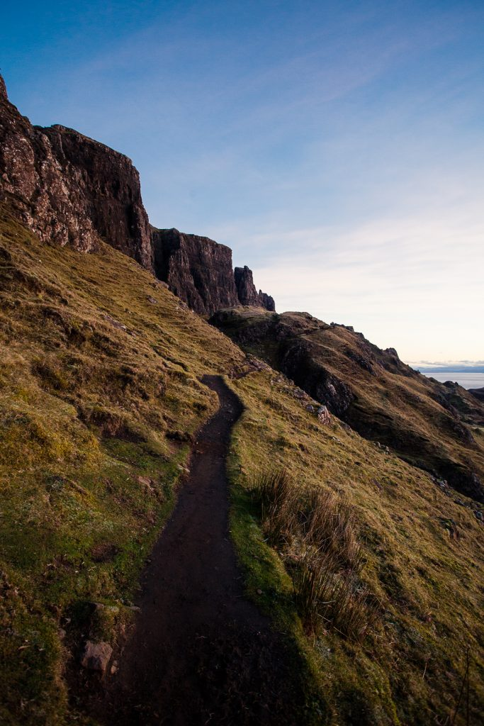 A footpath leading towards the Quiraing hills on the Isle of Skye in Scotland