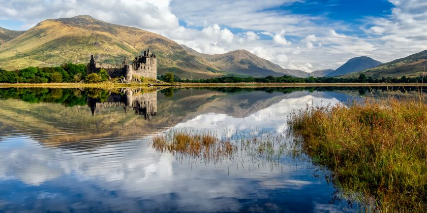 The ruins of Kilchurn castle are on Loch Awe, Scotland.
