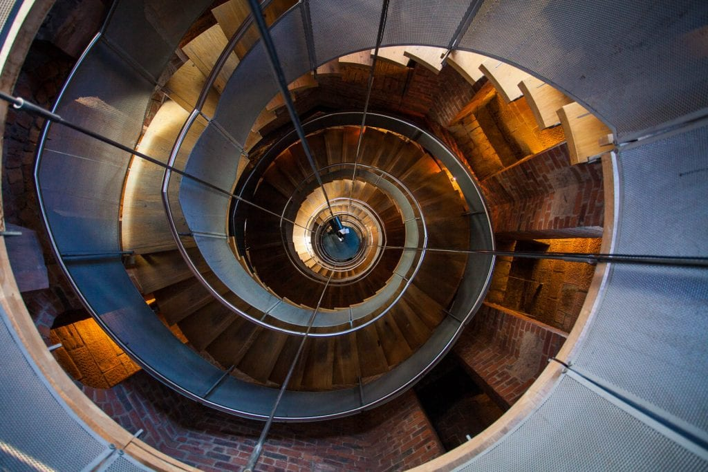 The tall spiral staircase at the Lighthouse in Glasgow.