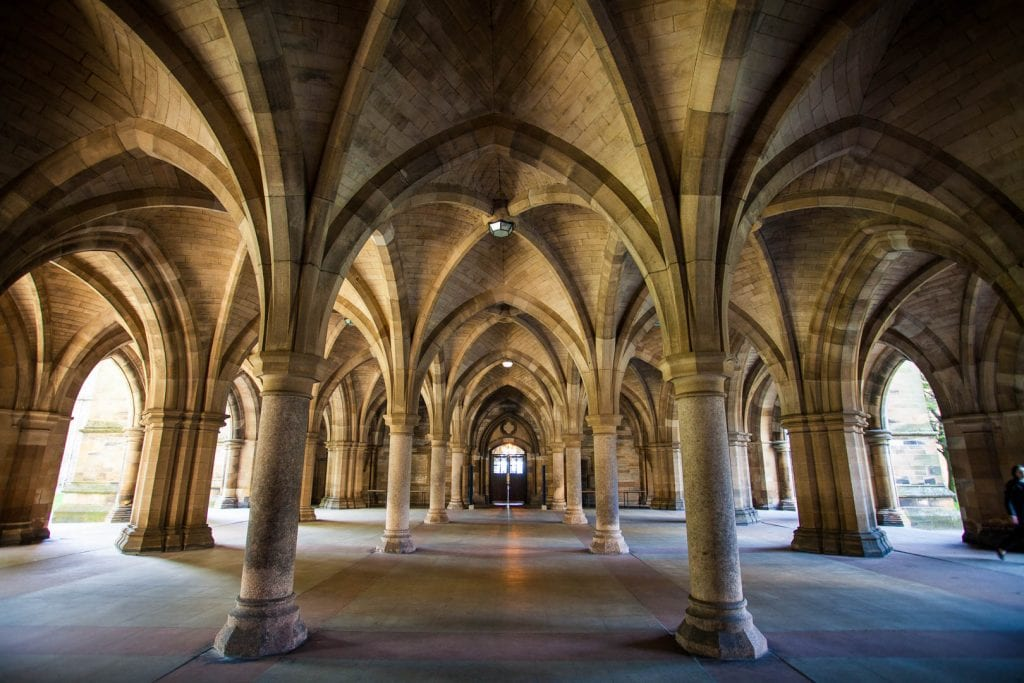 The cloisters of the University of Glasgow.