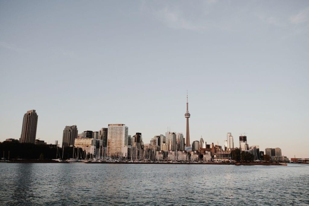 Toronto city skyline during sunset - Sunset cruise with the tall ship Kajama in Toronto