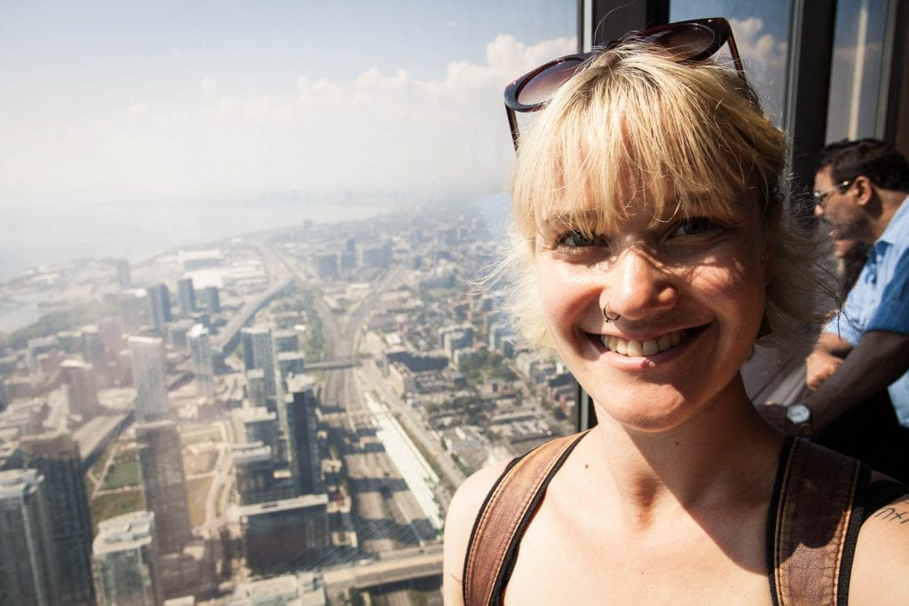 On top of the CN Tower in Toronto.