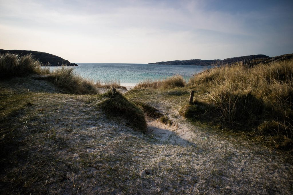 Sand dunes at Achmelvich Beach in Scotland